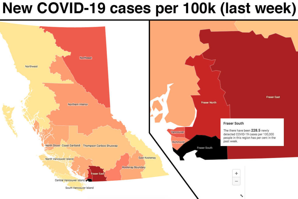 MAP/CHARTS: One of every 178 Fraser South residents has tested positive for COVID-19 the last month. - Maple Ridge News